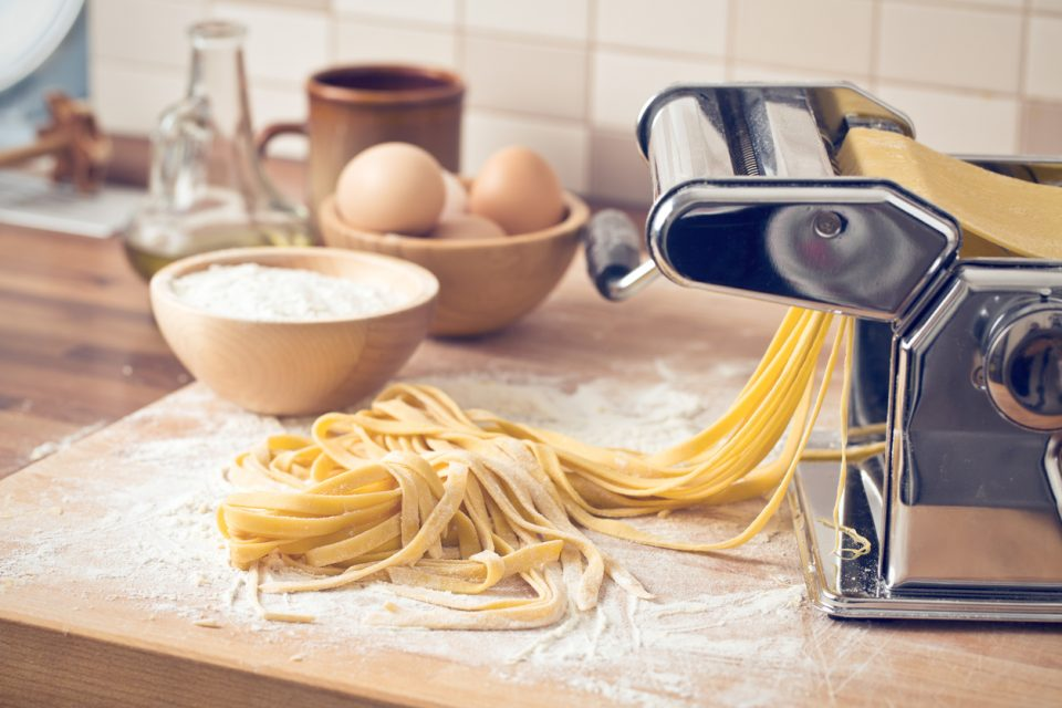 fresh pasta and pasta machine for cooking class
