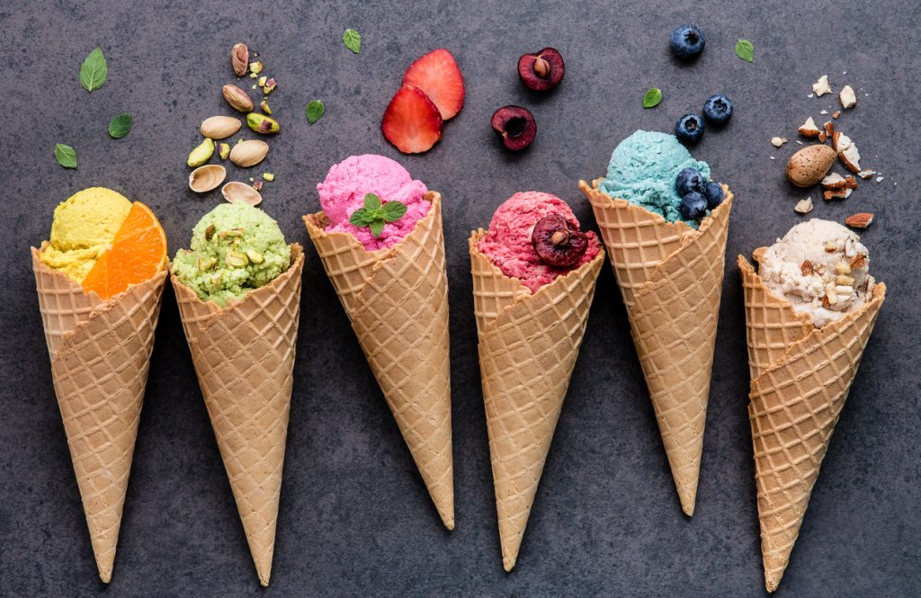 Various ice cream flavors from an ice cream shop